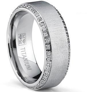 Oliveti Brushed Titanium Men's Round-cut Cubic Zirconia Comfort Fit Wedding Band