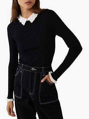 Warehouse Lace Collar Jumper, Black