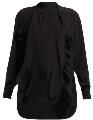 Givenchy Plisse Pussy-bow Silk-chiffon Blouse - Black