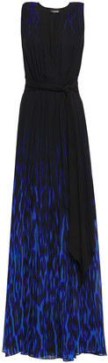 Just Cavalli Wrap-effect Printed Chiffon Maxi Dress