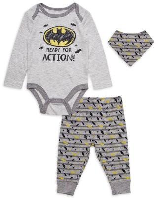 Batman Baby Boy Outfit Bodysuit, Pants & Bibs, 4-Piece Set