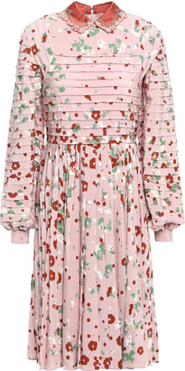 Valentino Embellished Pintucked Pleated Floral-print Silk Crepe De Chine Dress