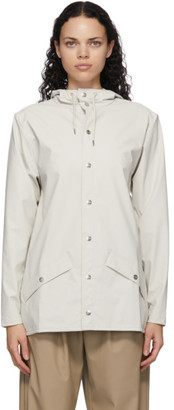 Rains Off-White Mid Button-Down Rain Coat