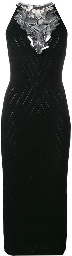 Balmain Embroidered knit dress