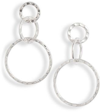 Sterling Forever Hammered Triple Drop Earrings