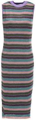 McQ Metallic Striped Ribbed-knit Dress