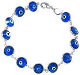 Target Distributed Women's Silver Plated Glass Guardian Eye Bracelet - Blue/Silver