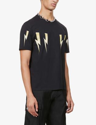 Neil Barrett Gold bolt-print graphic-print cotton-jersey T-shirt