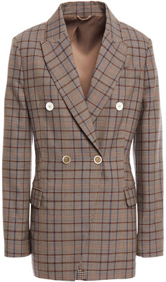Brunello Cucinelli Double-breasted Checked Wool And Cotton-blend Blazer