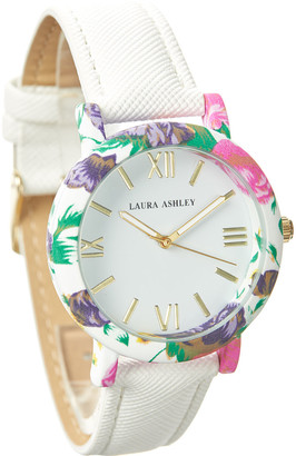 Laura Ashley Women's Watches - White & Jewel-Tone Floral Strap Watch
