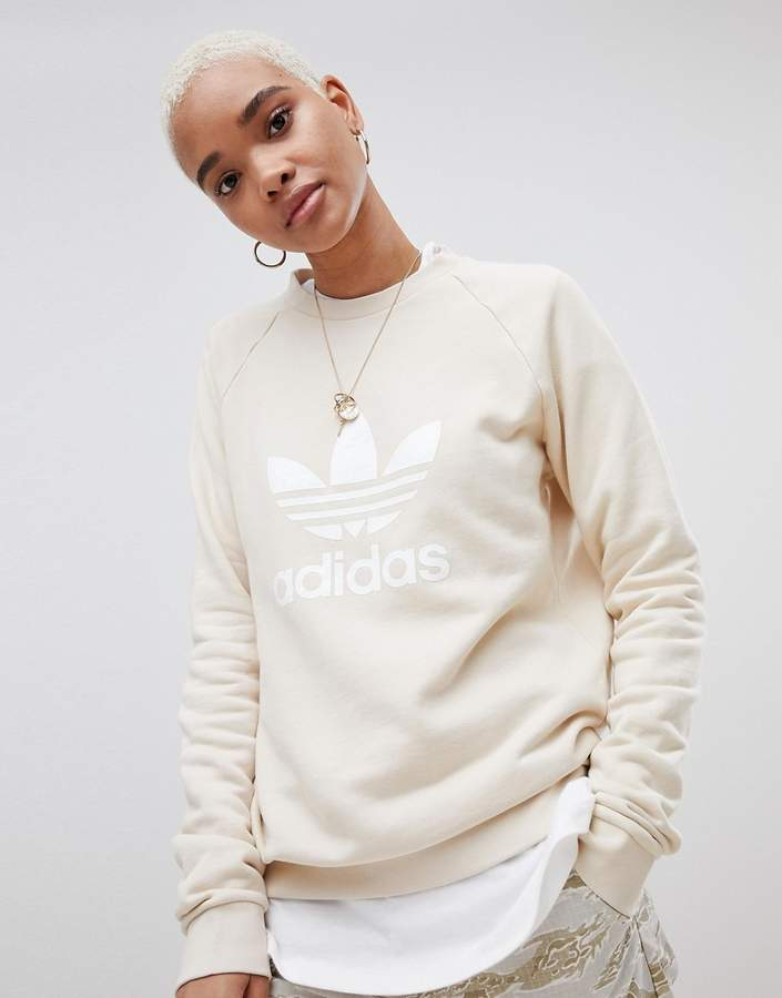 Trefoil Oversized Sweatshirt In Cream
