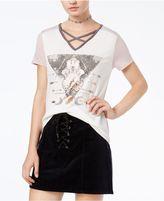 Rebellious One Juniors' Crisscross Graphic T-Shirt