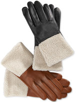 Charter Club Faux Sherpa Cuff Leather Tech Gloves, Only at Macy's