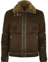 River Island Dark Brown Shearling Jacket