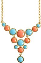 Kenneth Jay Lane Coral And Turquoise Stone Bib Necklace