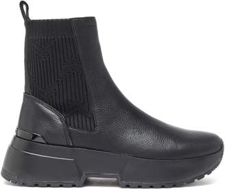 MICHAEL Michael Kors Cosmo Ribbed-knit Paneled Leather Ankle Boots