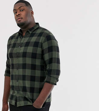 ONLY & SONS slim shirt in tan brushed check cotton-Green
