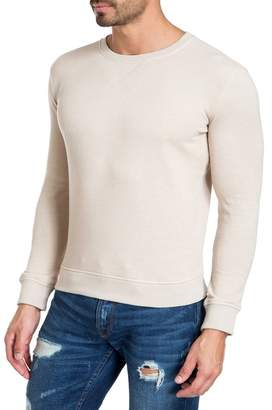 Jared Lang Patterned Elbow Patch Crew Neck Sweater