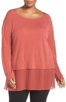 Eileen Fisher Plus Size Women's Sheer Hem Silk Jersey Bateau Neck Tunic