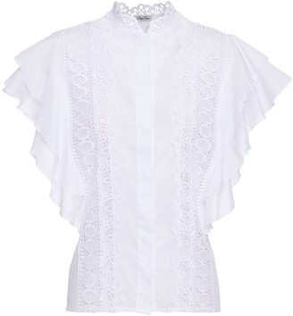Charo Ruiz Ibiza Saida Crocheted Lace-paneled Ruffled Cotton-blend Voile Top
