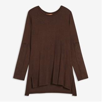 Joe Fresh Women's Contrast Sleeve Tee, Dark Brown (Size L)