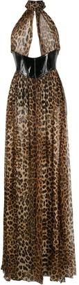 Philipp Plein Leopard Print Halter Dress