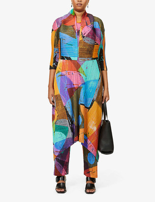 Pleats Please Issey Miyake Swing abstract-print pleated woven midi dress