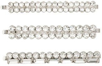 Alessandra Rich Double Row Crystal Hair Slides (Set Of 3)