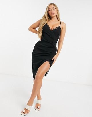 I SAW IT FIRST lace wrap midi dress in black