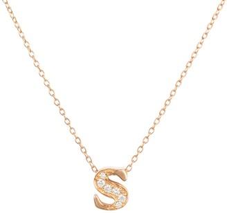 Latelita Diamond Initial Letter Pendant Necklace Rose Gold S