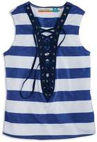 Vintage Havana Girls' Striped Lace-Up Tank