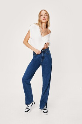Nasty Gal Womens Slit's Now or Never High-Waisted Denim Jeans - Blue - 10
