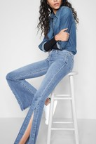 7 For All Mankind Ali With Side Seam Split In Gold Coast Waves