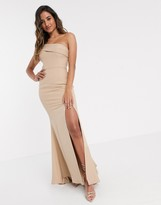 Jarlo pleated one shoulder maxi dress in taupe
