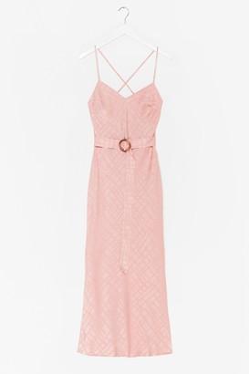 Nasty Gal Womens Workin' Jacquard Satin Belted Midi Dress - Pink - L