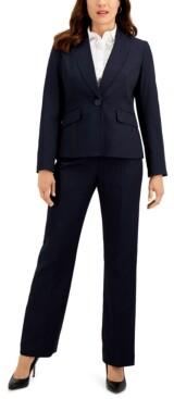 Le Suit Petite Striped One-Button Pant Suit