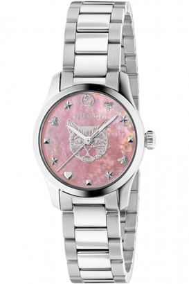 Gucci G-Timeless Watch with a Steel case, pink mother of pearl dial with feline head motif and a steel bracelet YA1265013