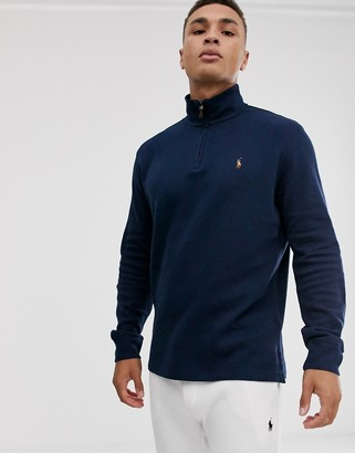 Polo Ralph Lauren half zip knitted jumper in navy with multi player logo