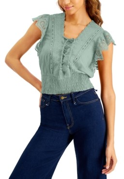 INC International Concepts Inc Cotton Eyelet-Embroidered Smocked Top, Created for Macy's
