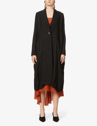 UMA WANG Celia single-breasted linen and wool-blend twill and jacquard coat