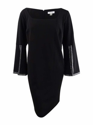 Calvin Klein Women's Size Square Neck Sheath with Embellished Split Sleeve