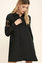 Glamorous Shadow Garden Black Lace Shirt Dress