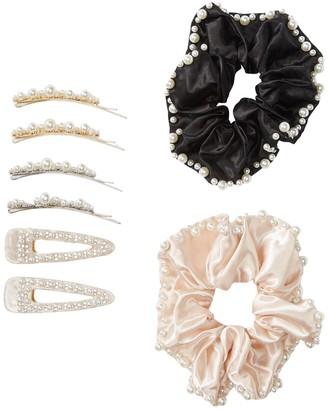 Natasha Accessories Faux Pearl Embellished Scrunchie & Hair Clip Set