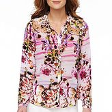 JCPenney a.n.a® Chiffon Button-Front Shirt