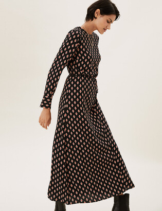 Marks and Spencer Geometric Belted Midaxi Column Dress
