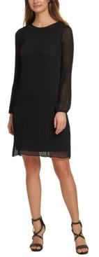 DKNY Pleated Chiffon Shift Dress