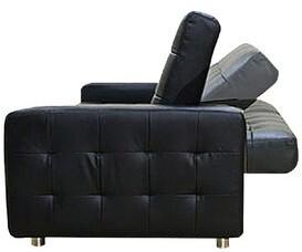 Latitude Run Cataleta 73.5'' Square Arm Sofa Bed Fabric: Black Faux Leather