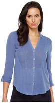 Lucky Brand Woven Gauze Mixed Top Women's Long Sleeve Button Up