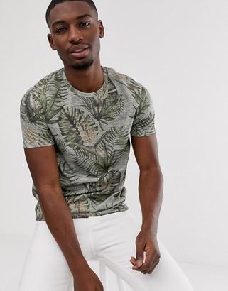Burton Menswear palm print t-shirt in green