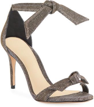 Alexandre Birman Clarita Mid-Heel Metallic Evening Fabric Sandals